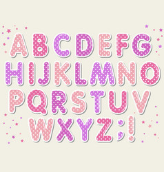 polka dots 3d english alphabet letters set lol vector image
