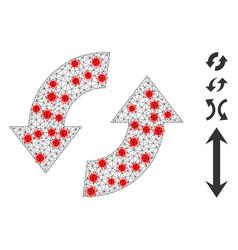 Polygonal mesh exchange arrows icon with virus vector