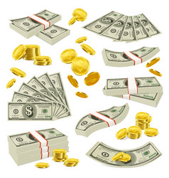 Realistic coins and banknotes money set vector