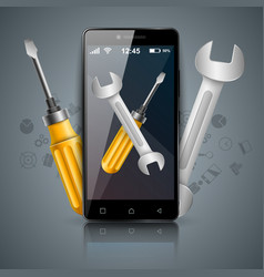 repairs digital icon wrench and screwdriver vector image