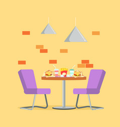 restaurant bistro dish fast food meal at table vector image