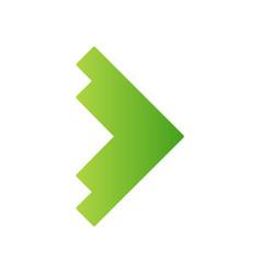 Right green arrowhead flat design long shadow vector