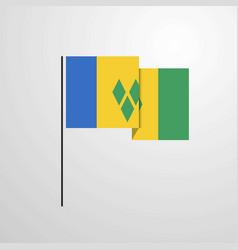 Saint vincent and grenadines waving flag design vector