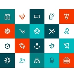 Scuba diving icons Flat style vector image