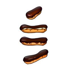 Set chocolate eclairs vector