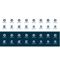 Set initial letter e logo design template vector