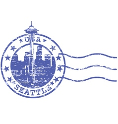 Shabby stamp with cityscape of Seattle - sights of vector