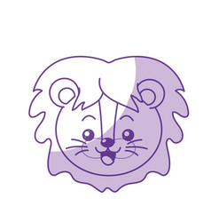 Silhouette cute wild animal face with expression vector