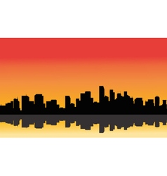 Silhouette of the city from afar vector