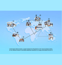 smart houses over world map background modern vector image