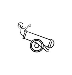 stuntman in the cannon hand drawn sketch icon vector image