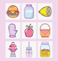 summer food collection cartoons vector image
