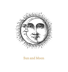 sun and moon hand drawn in engraving style vector image