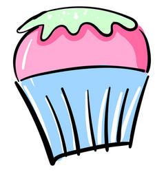 sweet cupcake on white background vector image