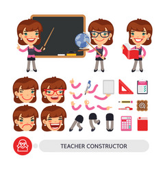 teacher female character constructor vector image