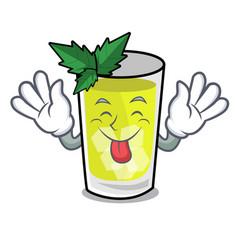 Tongue out mint julep mascot cartoon vector