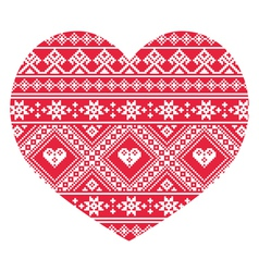 Traditional Ukrainian red folk art heart pattern vector