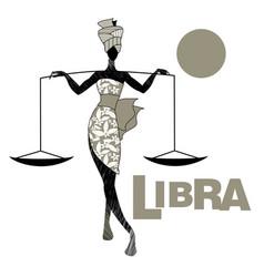 tribal zodiac libra elegant woman in floral dress vector image