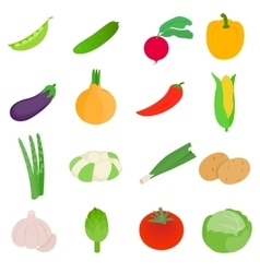 Vegetables icons set isometric 3d style vector image