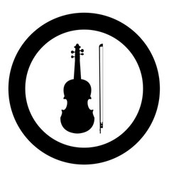 violin icon black color in circle vector image