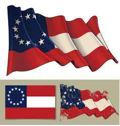 waving flag of the confederate states of america vector image