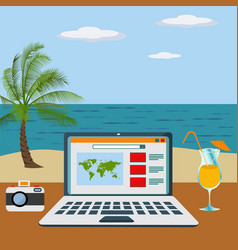 Working freelance on a beach concept vector