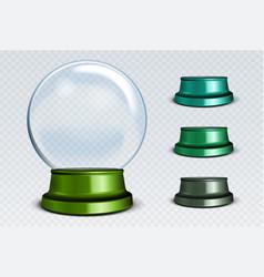 Empty snow globe set white transparent glass vector