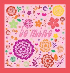 floral ornamental valentine greeting card vector image vector image
