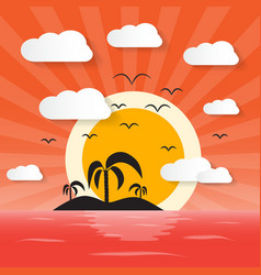 Sunset ocean with island and palm vector