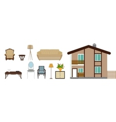 The house is furnished with furniture Modern Flat vector image vector image