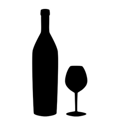 Wine bottle and glass silhouette isolated on white vector image