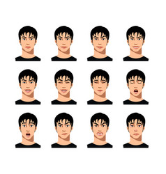 young male face expression set vector image vector image
