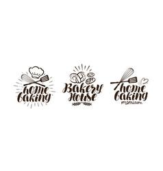 bakery bakehouse logo or label home baking vector image