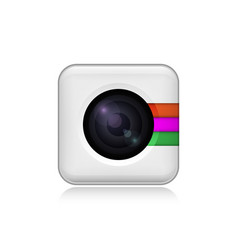 camera icon in fashionable flat style isolated on vector image