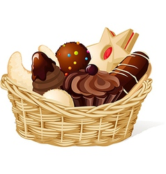 Christmas still life with basket full of cookies vector image vector image