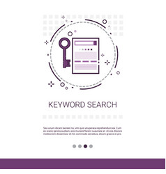 Keywording search web optimization banner with vector