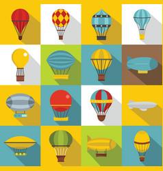 retro balloons aircraft icons set flat style vector image