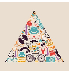 Retro hipsters icons triangle vector image vector image