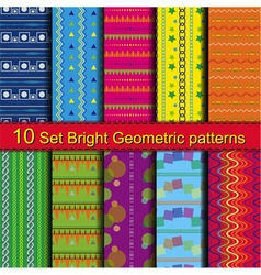 10 Set Bright Geometric patterns vector image vector image