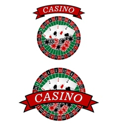 Casino roulette with gambling elements vector image vector image