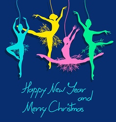 Christmas and New Year card with ballet dancers vector image vector image