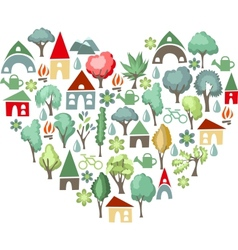 Heart made of trees I love countryside vector image vector image