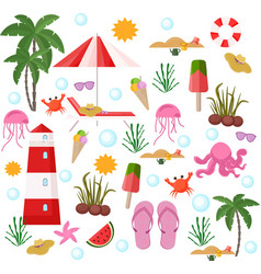 summer set beach stuff flat style vector image