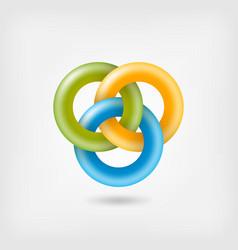 Three jelly interlocking rings vector