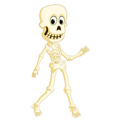 cartoon funny human skeleton dancing vector image vector image