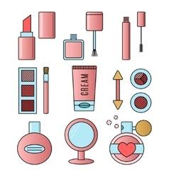 Make up and cosmetics pink set vector image