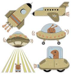 Set of cute spaceships vector image