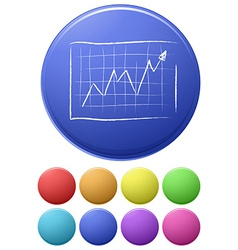 Small buttons and a big button with a graph vector image vector image