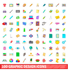 100 graphic design icons set cartoon style vector
