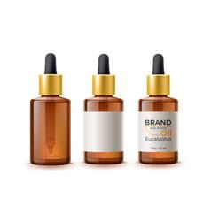 3d herbal oil pipette skin care bottle vector image